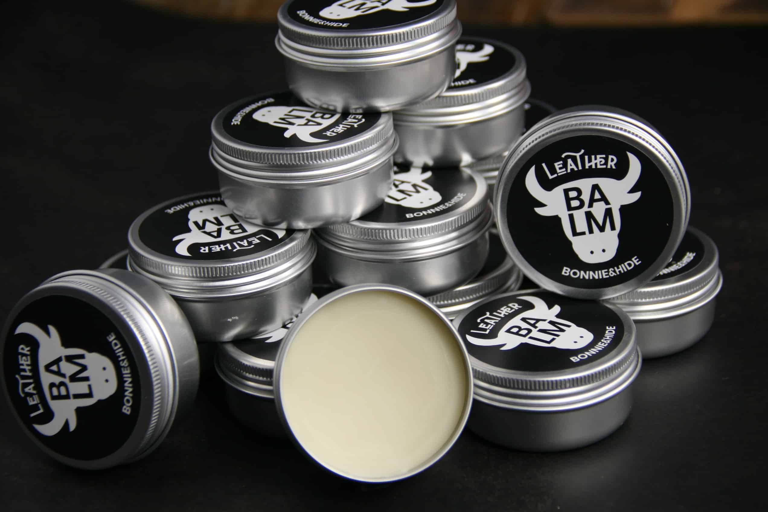 natural leather balm in container