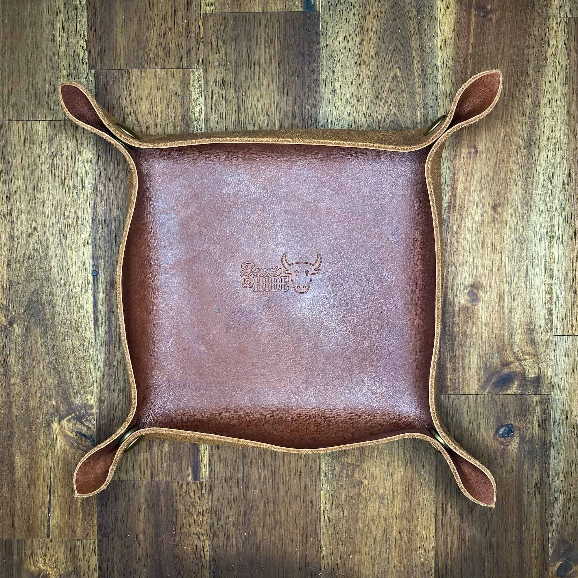 empty leather valet tray